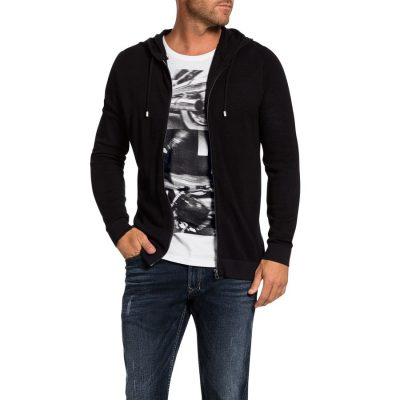 Fashion 4 Men - Tarocash Bourne Waffle Zip Thru Knit Black L
