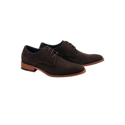 Fashion 4 Men - Tarocash Boyd Suede Lace Up Shoe Chocolate 12