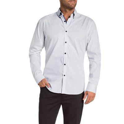 Fashion 4 Men - Tarocash Brandon Slim Print Shirt White M