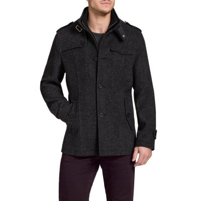Fashion 4 Men - Tarocash Brigadier Melton Coat Steel L