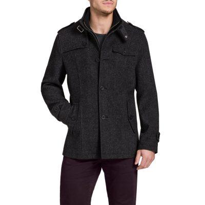 Fashion 4 Men - Tarocash Brigadier Melton Coat Steel S