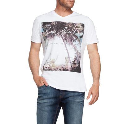 Fashion 4 Men - Tarocash Cancun V Neck Printed Tee White Xxl