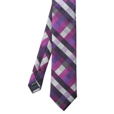 Fashion 4 Men - Tarocash Check Tie Purple 1