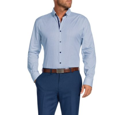 Fashion 4 Men - Tarocash Chester Slim Print Shirt Blue Xl