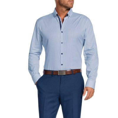 Fashion 4 Men - Tarocash Chester Slim Print Shirt Blue Xxxl