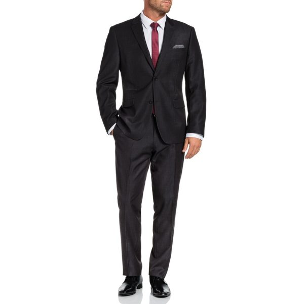 Fashion 4 Men - Tarocash Cutter Textured 2 Button Suit Charcoal 44