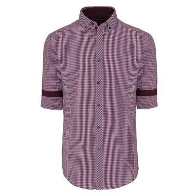 Fashion 4 Men - Tarocash Damien Check Shirt Burgundy 5 Xl