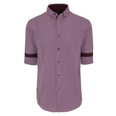 Fashion 4 Men - Tarocash Damien Check Shirt Burgundy L