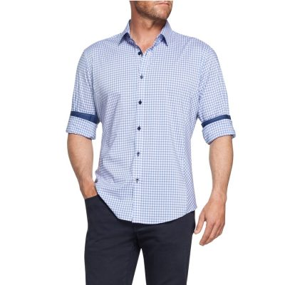Fashion 4 Men - Tarocash Dane Stretch Check Shirt Lilac L