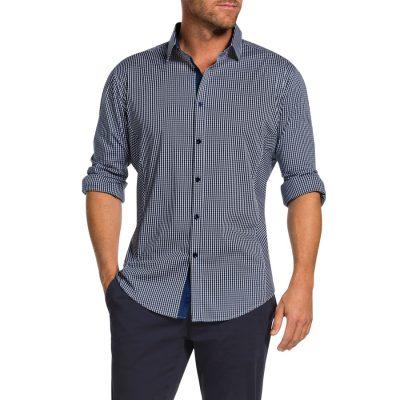 Fashion 4 Men - Tarocash Elias Stretch Check Shirt Navy 5 Xl