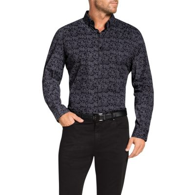 Fashion 4 Men - Tarocash Fletcher Stretch Print Shirt Charcoal Xxl