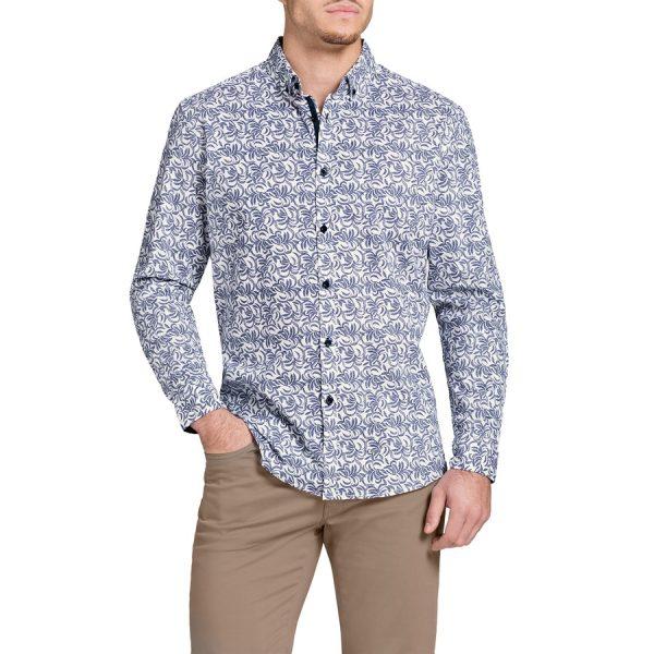 Fashion 4 Men - Tarocash Fletcher Stretch Print Shirt White Xl