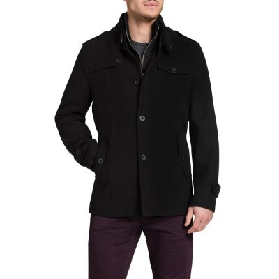 Fashion 4 Men - Tarocash Garrison Melton Coat Black S