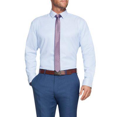 Fashion 4 Men - Tarocash Germaine Textured Check Dress Shirt Blue Xxxl