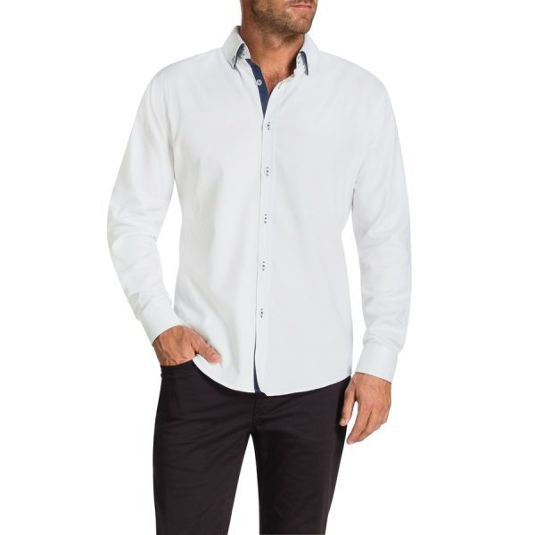 Fashion 4 Men - Tarocash Hargrave Slim Textured Shirt White S
