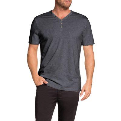 Fashion 4 Men - Tarocash Henley Stripe Tee Black S