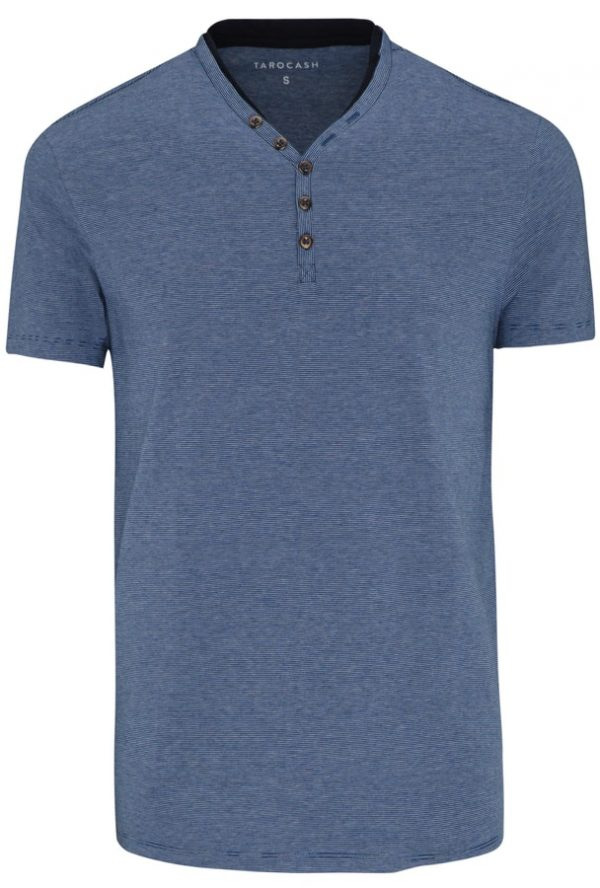Fashion 4 Men - Tarocash Henley Stripe Tee Blue Xxl