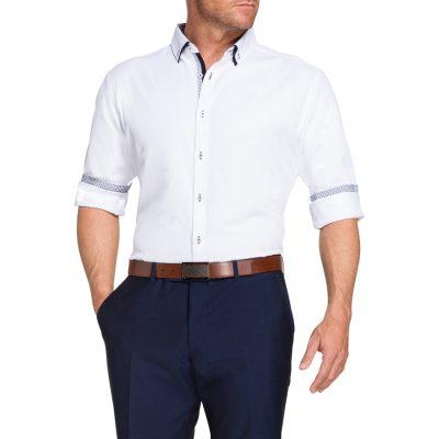 Fashion 4 Men - Tarocash Jenson Jacquard Shirt White M