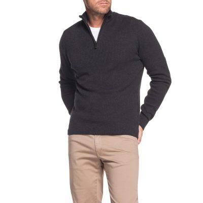 Fashion 4 Men - Tarocash Keane 1/2 Zip Knit Charcoal M