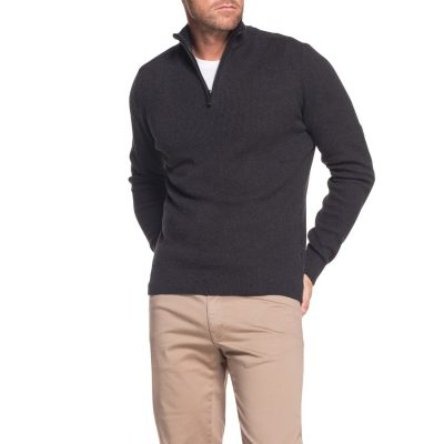 Fashion 4 Men - Tarocash Keane 1/2 Zip Knit Charcoal S