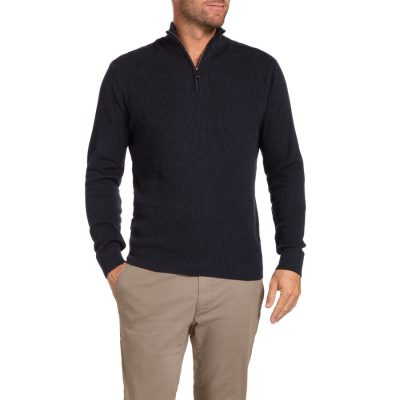 Fashion 4 Men - Tarocash Keane 1/2 Zip Knit Navy S