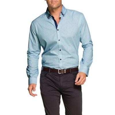 Fashion 4 Men - Tarocash Kennedy Print Shirt Aqua Xl