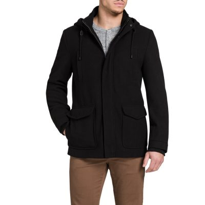 Fashion 4 Men - Tarocash Mallory Hooded Melton Coat Black Xl