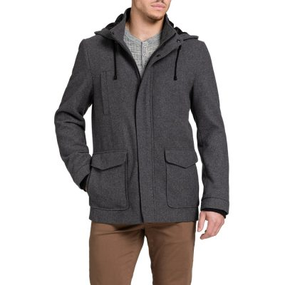 Fashion 4 Men - Tarocash Mallory Hooded Melton Coat Charcoal M