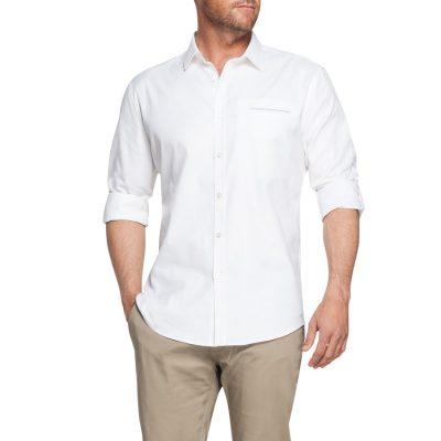 Fashion 4 Men - Tarocash Meyrick Slim Textured Shirt White Xl