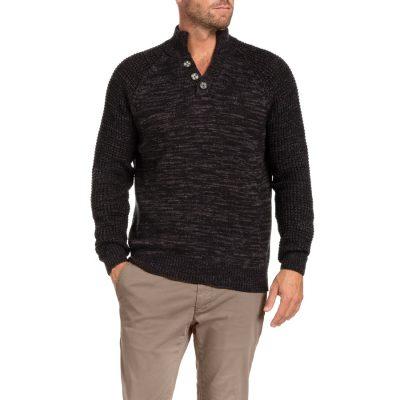 Fashion 4 Men - Tarocash Millard Textured Knit Charcoal Xxl