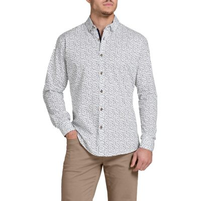 Fashion 4 Men - Tarocash Noah Slim Print Shirt White Xl