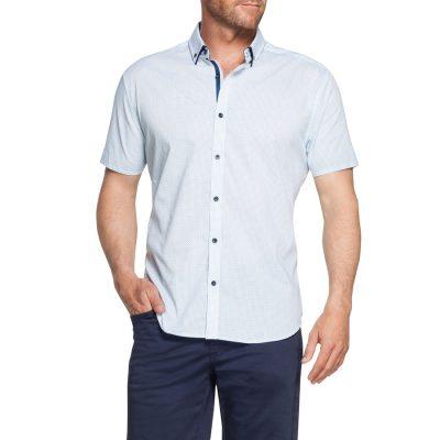 Fashion 4 Men - Tarocash Palmer Print Shirt Aqua Xxxl