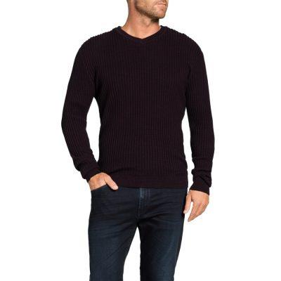 Fashion 4 Men - Tarocash Phoenix Textured V Neck Knit Burgundy M