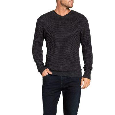 Fashion 4 Men - Tarocash Phoenix Textured V Neck Knit Charcoal L