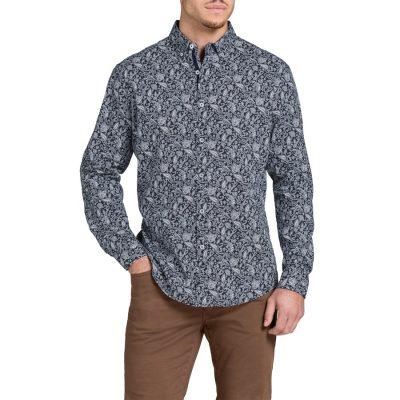 Fashion 4 Men - Tarocash Prince Paisley Print Shirt Navy Xxl