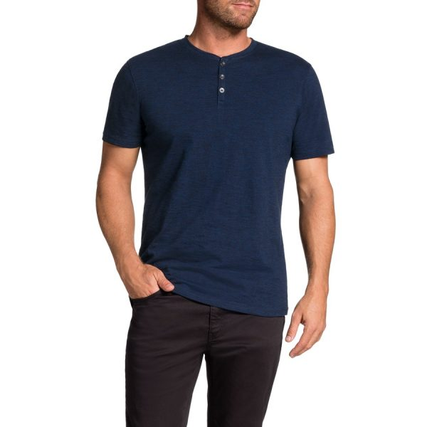 Fashion 4 Men - Tarocash Rex Henley Tee Cobalt S