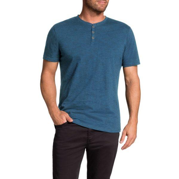 Fashion 4 Men - Tarocash Rex Henley Tee Teal Xxxl