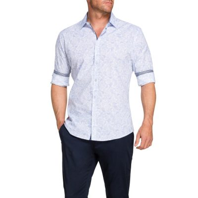 Fashion 4 Men - Tarocash Rhodes Paisley Print Shirt Sky L
