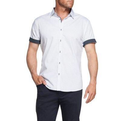 Fashion 4 Men - Tarocash Roscoe Print Shirt White Xl