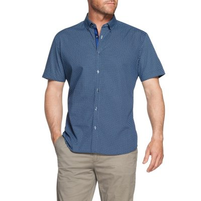 Fashion 4 Men - Tarocash Rupert Print Shirt Blue L