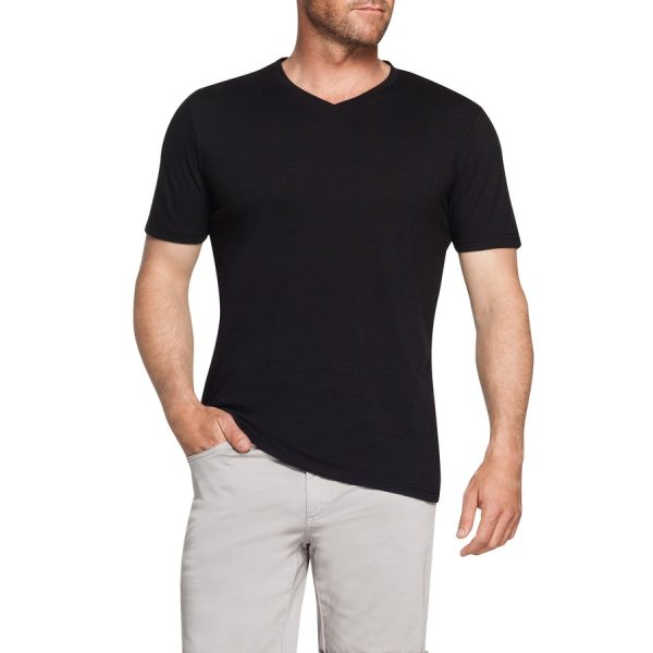 Fashion 4 Men - Tarocash Self Stripe V Neck Tee Black Xxxl