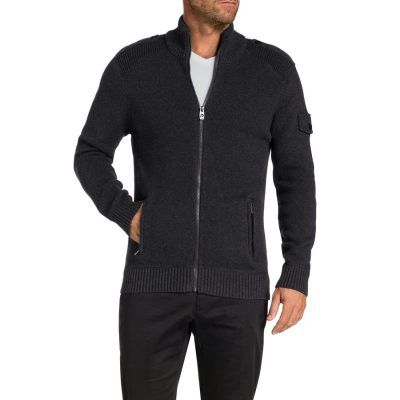 Fashion 4 Men - Tarocash Southern Zip Thru Knit Charcoal Xxl