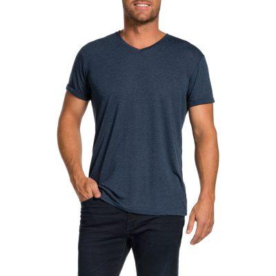 Fashion 4 Men - Tarocash V Neck Slub Tee Blue L