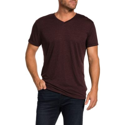 Fashion 4 Men - Tarocash V Neck Slub Tee Burgundy L