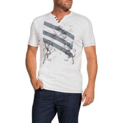 Fashion 4 Men - Tarocash Valour Print Henley White Xxxl