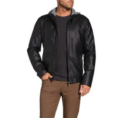 Fashion 4 Men - Tarocash Willis Hooded Pu Jacket Black Xxxl
