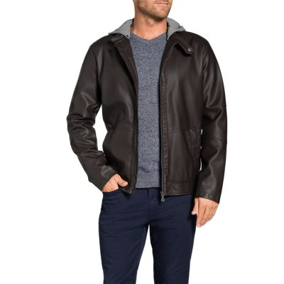 Fashion 4 Men - Tarocash Willis Hooded Pu Jacket Chocolate M
