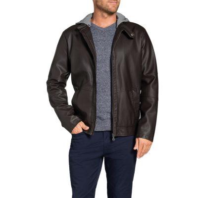 Fashion 4 Men - Tarocash Willis Hooded Pu Jacket Chocolate Xl
