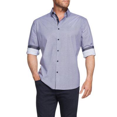 Fashion 4 Men - Tarocash Alex Diamond Slim Print Shirt Lilac Xl