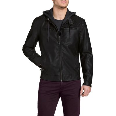 Fashion 4 Men - Tarocash Alexander Hooded Pu Jacket Black M